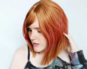 Short red wig, ginger pink wig, red bob wig, straight red wig, auburn red wig with bangs -- Sun and Spice