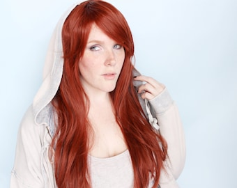 Auburn red wig, long red wig, redhead wig, ginger wig, straight red wig -- The Traveler
