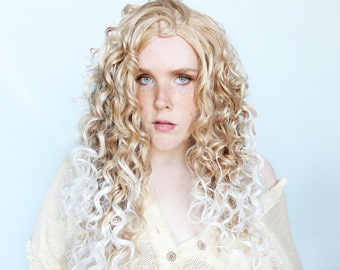 Curly blonde wig, thick long blond wig, ombre wig -- Beach Day