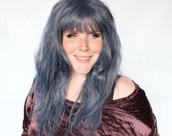 Long blue wig, blue wavy wig with bangs, blue cosplay wig -- Sea Spire