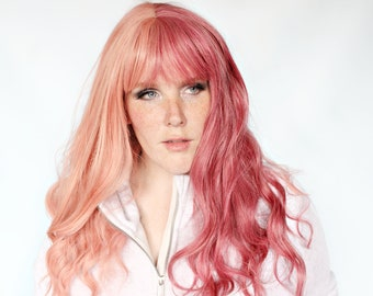 Long pink wig, pastel pink wig, pastel hair wig with bangs, two tone pink wig, split pink wig -- Bubblegum Baby