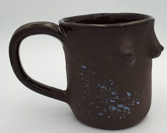 Goddess Mug Speckled Handmade Black Clay