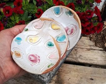 Soy Sauce Bowl Set - Breast Cancer Survivor Gift -  Boob Motif Handmade Ceramic Dip Bowls