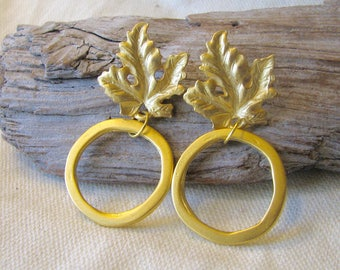 Gold hoop post earrings