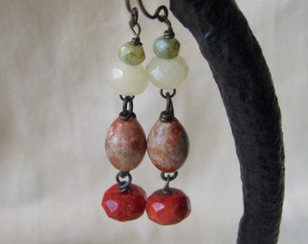 multicolor rustic dangle earrings