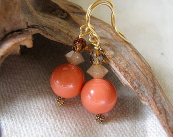 peach and amber dangle earriings