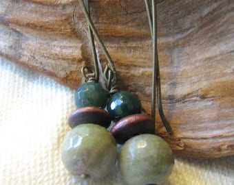 green and brown rustic dangle earrings