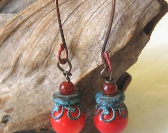 red with verdigris dangle earrings