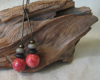 rosy red and brown stacked dangle earrings