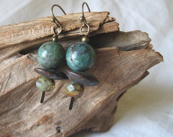turquoise and verdigris earrings