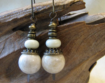 brass and off white stacked earrings