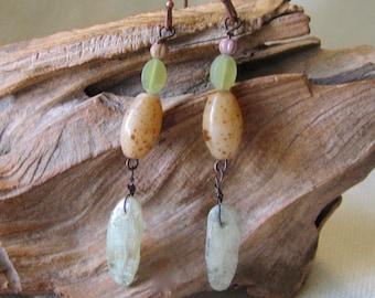 green kyanite and pale brown dangle earrings