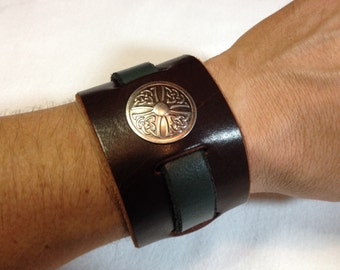 Leather Cuff w/ Celtic Cross Concho, Brown and Moss Green, Small/Medium
