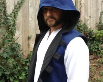 Blue Hooded Vest or Doublet, Men's Medium