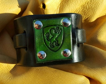 Medieval Leather Cuff w/ Green Lion Emblem, Black, Medium/Large