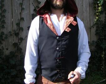 Formal Men's Hooded Doublet, Black w/ Red Brocade Lining, Medium