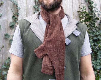 Tree Bark Scarf from Upcycled Material, Unisex, Brown