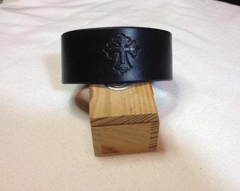 Leather Cuff w/ Gothic Cross, Black, Medium-Large