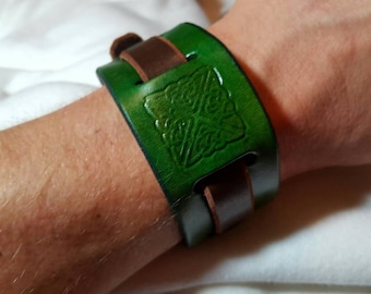 Medieval Leather Cuff w/ Celtic Knot Stamp, Green, Medium/Large