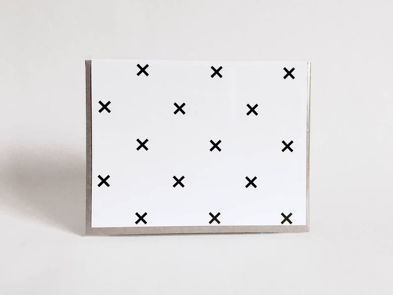greeting card: geometric black and white card x treasure image 0