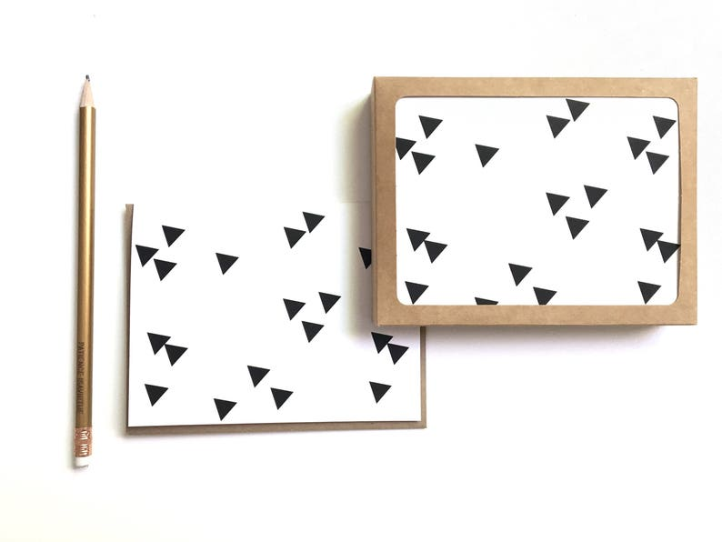 greeting card set: geometric black and white cards pentagons image 0