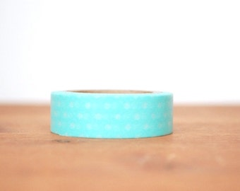 washi tape: turquoise blue and white polka dots