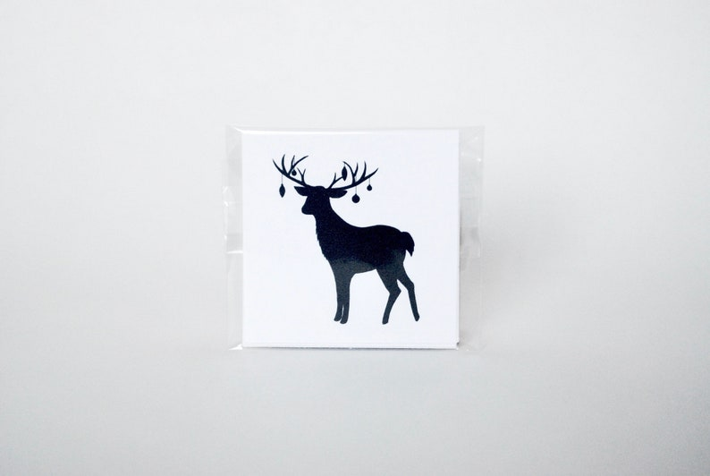Gift tag: holiday winter animal gift tags sticky  deer with image 0
