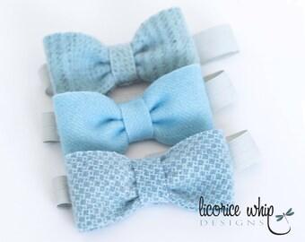 Bow Tie - Wool Felt - Babies - Boys - Soft Pastel Blue - Pinstripe - Honeycomb