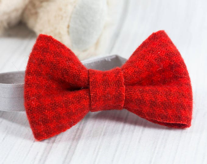 Bow Tie Wool Felt - Boys Bow Tie - Baby Bow Tie - Red Bow Tie - Houndstooth - Plaid - Valentines Day Bow Tie - Bow Tie for Babies