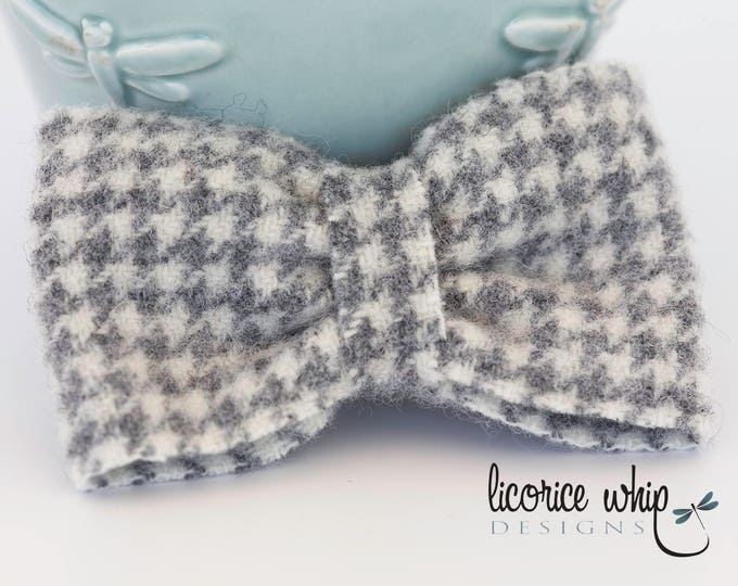Gray Baby Bow Ties, Boys Bow Ties, Kids Bow Tie,  Infant Bow Tie, Bow Tie Newborn, Photo Prop, Houndstooth Bow Tie, Boys Gray Bow Tie