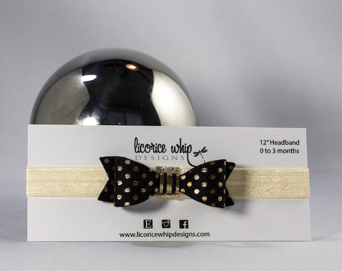 Bow Headband, Metallic gold polka dot on classic black, Silver, Gold, Baby Girl Hair Accessory, Baby Girl Headband, Baby Hair Fashion
