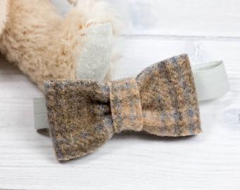 Bow Tie Wool Felt - Boys Bow Tie - Baby Bow Tie - Brown Plaid Bow Tie - Valentines Day Bow Tie - Bow Tie for Babies