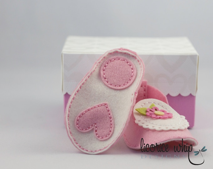 ANNABELLE — 100% Wool Felt Hand Stitched Pink with Floral details Baby Booties comes in custom matching box - great baby gift