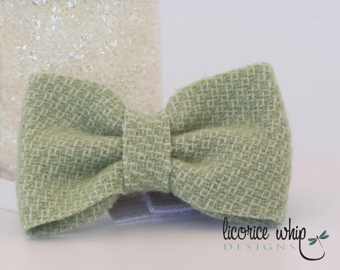 Baby Boy Bow Tie - Green Honeycomb - Infant Bow Tie - Toddler Bow Tie - Fold Over Elastic - Hook and Loop Closure - Special Occasion