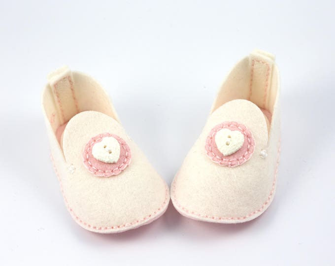 White with Pink Baby Booties, White Heart Button, Unique Baby Girl Gift, Wool Felt Baby Shoes, Crib Shoes, Baby Shower Gift, Valentine Baby