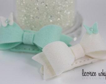 Bow Barrettes - Hair Clips - Baby Girl - Girl Toddler - Wool Felt - Mint - Swarovski Crystal - Butterflies - Hair Accessories - Gift Box