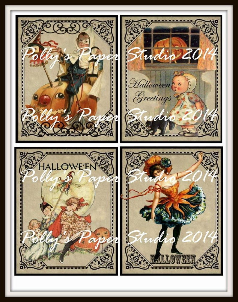 photo regarding Vintage Halloween Printable named Traditional Halloween TS Frames Collage Electronic Illustrations or photos printable obtain history