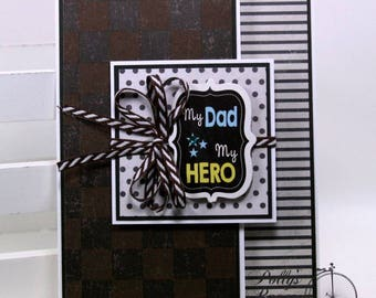 My Dad My Hero Father's Day Greeting Card Polly's Paper Studio Handmade