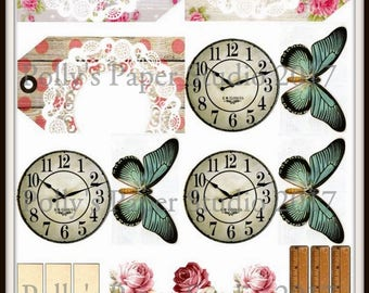 Dollar Download Butterfly Clock Tags Digital Images Printable Download File  Polly's Paper Studio