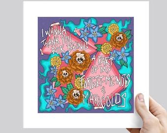 Motion City Soundtrack LG F.U.A.D. Forget-Me-Nots and Marigolds Punk Lyric Art Print - Various Sizes