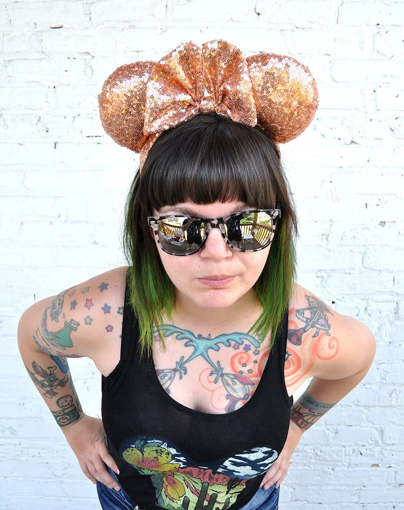 Full Rose Gold Sequin Mickey Mouse Ears Minnie Mouse Ears image 0