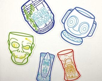 Trader Sam's Enchanted Tiki Bar Mug Clear Waterproof Vinyl Sticker 5 Pack