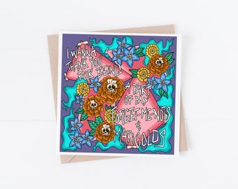 Motion City Soundtrack L.G. F.U.A.D. Forget-Me-Nots and Marigolds Punk Lyric 5.25x5.25 Blank Greeting Card