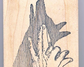 Shadow Puppet with Fingers Wood Mounted Rubber Stamp
