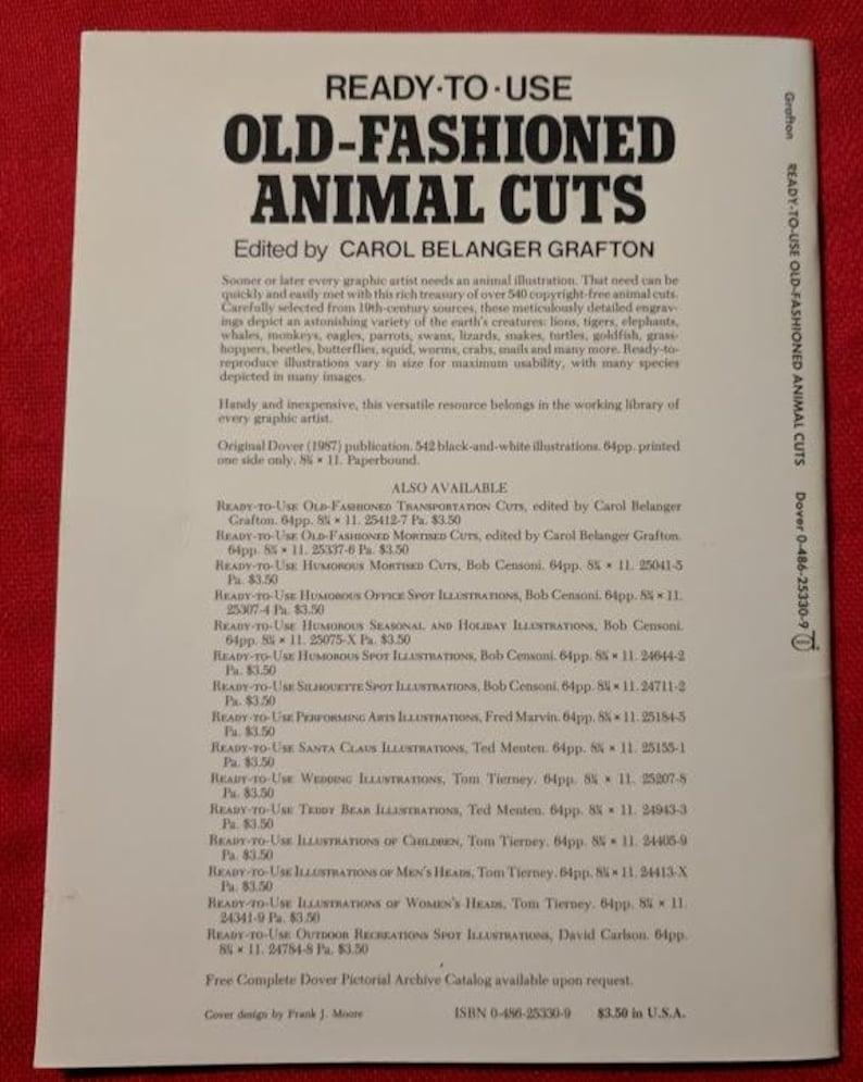 Old-Fashioned Animal Cuts edited by Carol Belanger Grafton Clip Art 1987