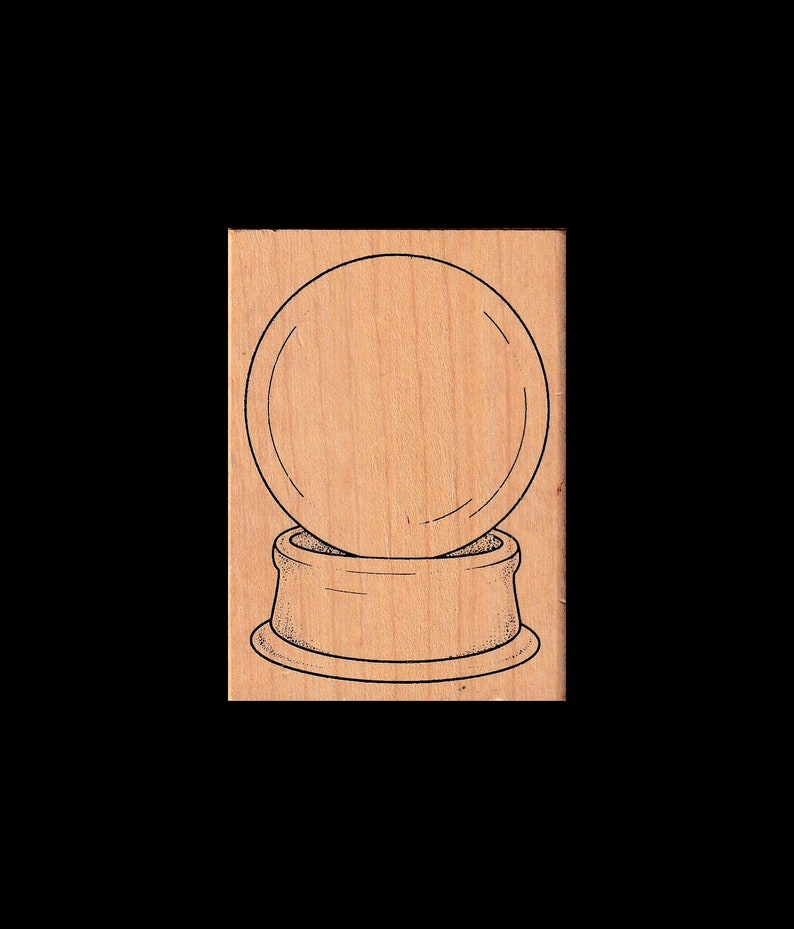 Wood Mount Crystal Ball Rubber Stamp
