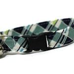Plaid Cat Collar- Navy and Seafoam Green Plaid