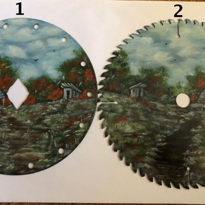 Rustic Home Decor Hand Painted Gift Idea Fall Mountain Cabin 7 Inch Vintage Saw Blade