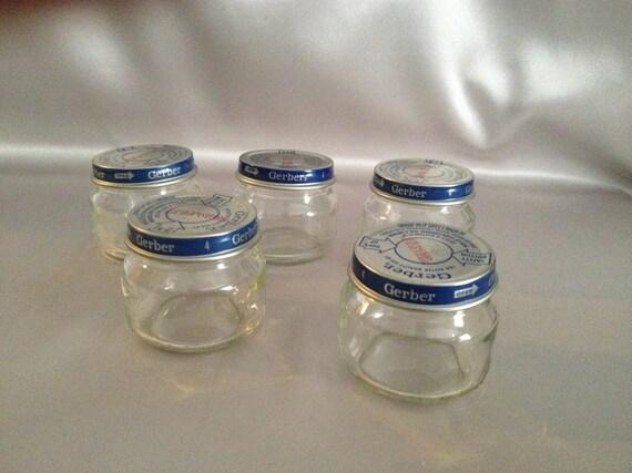 storage jars baby food jars glass jar lot of 5 beechnut etsy. Black Bedroom Furniture Sets. Home Design Ideas