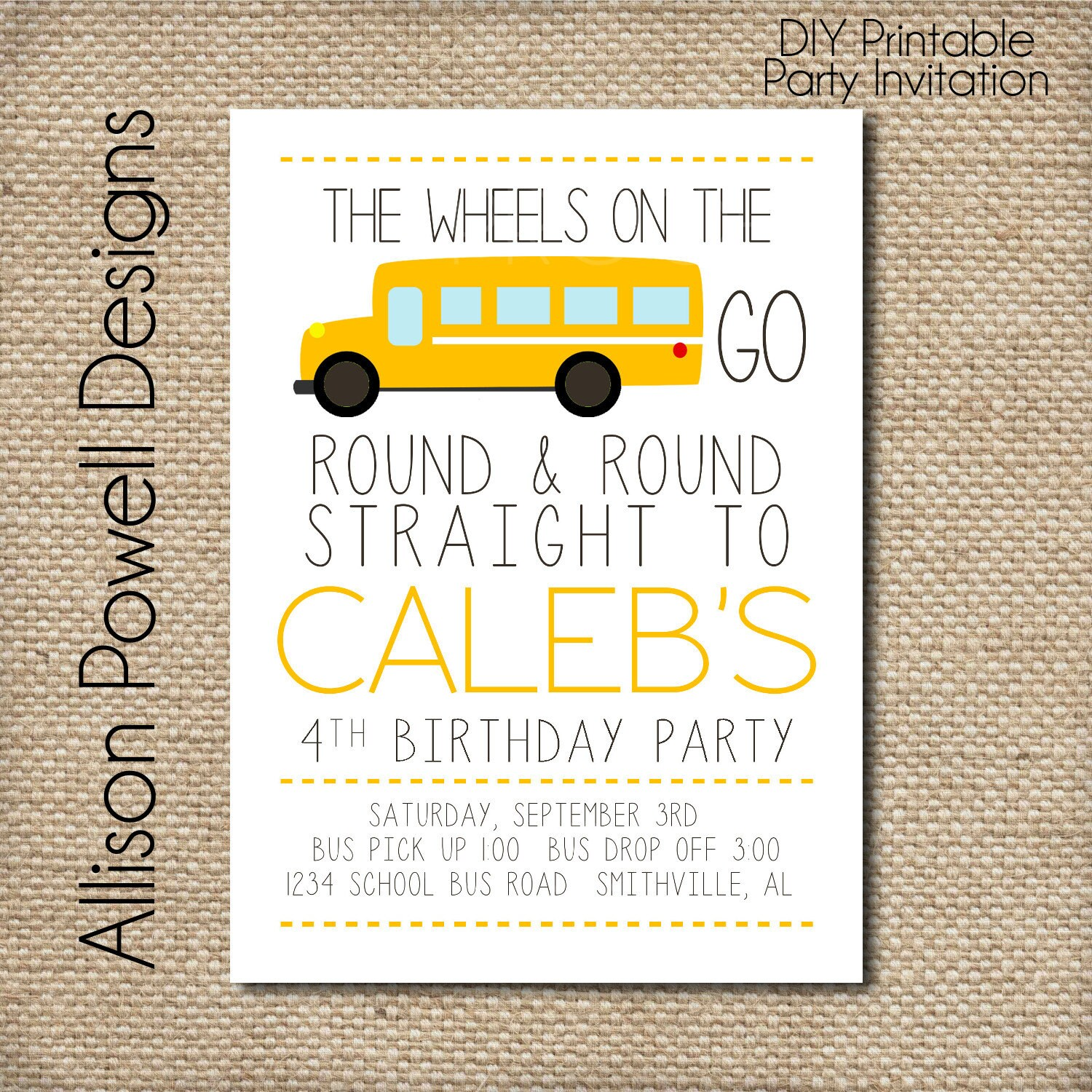 School Bus Wheels On The Bus Birthday Party Invitation | Etsy